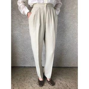 [vintage] ultra high waist cream trousers